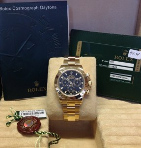 Rolex replica Daytona Yellow Gold 116528 Black Baton Dial From 2011 orologio replica5