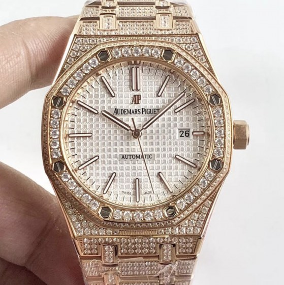 audemars piguet replica royal oak 41mm rose gold full paved diamonds white dial-1