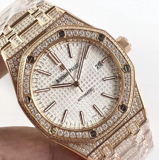audemars piguet replica royal oak 41mm rose gold full paved diamonds white dial-2
