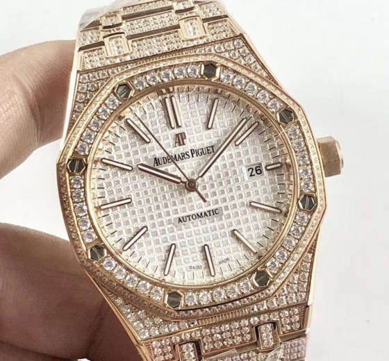 audemars piguet replica royal oak 41mm rose gold full paved diamonds white dial-3