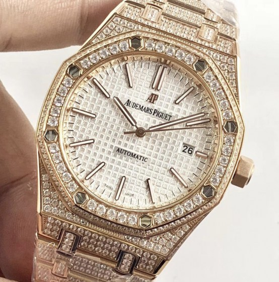 audemars piguet replica royal oak 41mm rose gold full paved diamonds white dial-4