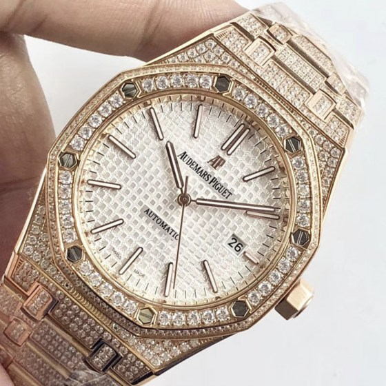 audemars piguet replica royal oak 41mm rose gold full paved diamonds white dial-5