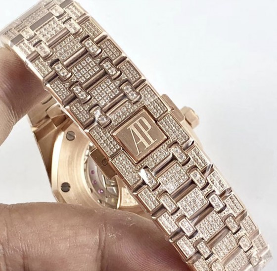 audemars piguet replica royal oak 41mm rose gold full paved diamonds white dial-8