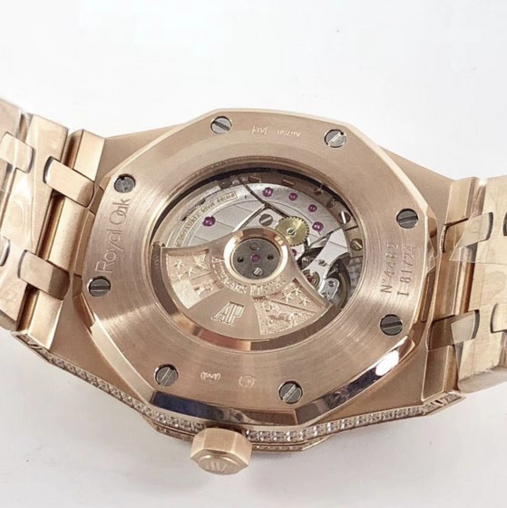 audemars piguet replica royal oak 41mm rose gold full paved diamonds white dial-9