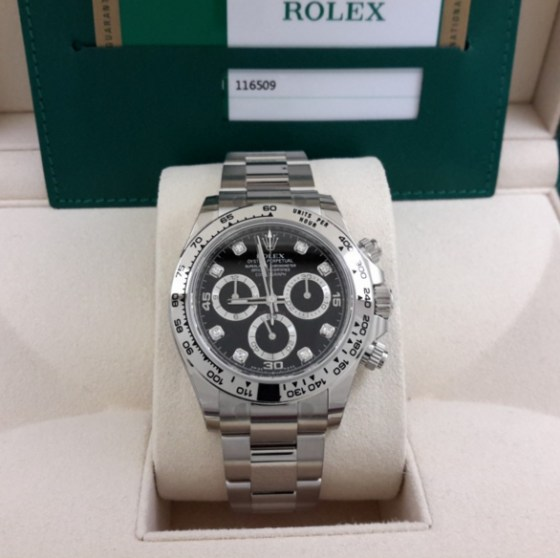 rolex replica daytona 116509 oro bianco black diamond-1